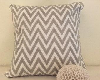 Gray Embroidreded Chevron Pillow