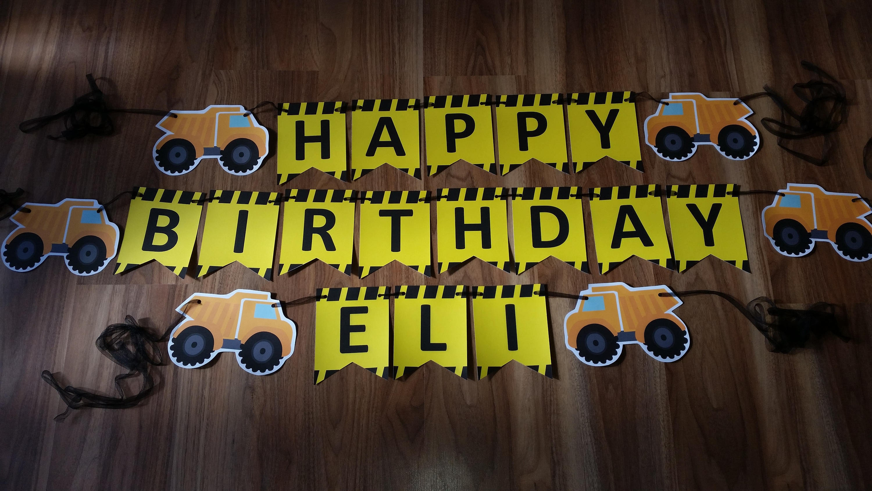1st First Birthday Custom made Construction Happy Birthday ...