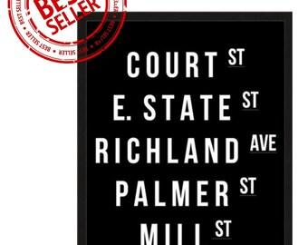 16x20 Athens, Ohio & Ohio University Street Names Poster