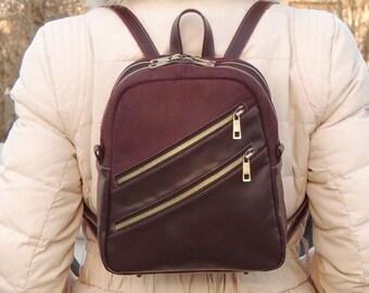 "Burgundy leather backpack ""Ottavia"""