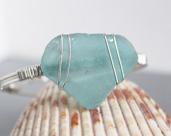 Sea glass jewelry - teal sea glass bracelet - silver bracelet - ocean glass bracelet -bohemian bracelet - beach wedding - handmade bracelet