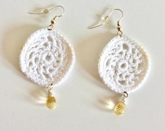 SALE White Crochet Earrings with Citrine | White Lace Earrings | Crochet Lace Earrings | Lightweight Earrings | Boho Jewelry | Gift for Her