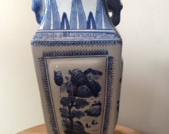 Tall Blue and White Handled Vase
