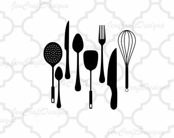 Kitchen SVG, Utensils Vector Digital Cut File Set in Svg, eps, dxf and PNG Format for Cricut and Silhouette
