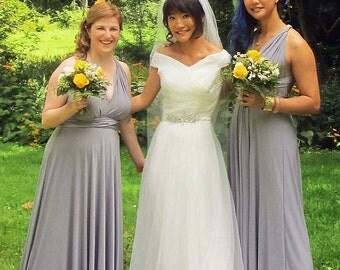 Infinity Multiway Convertible Twist Wrap Dress Bridesmaid Wedding Prom Evening Ballgown Silver Grey