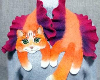 Wool Scarf Red Cat Green Eyes