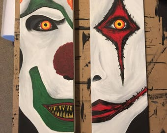 Halloween Horror Nights Tribute | Jack the Clown | Chance the Clown | Side by Side Canvases - Set of 2