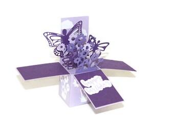Handmade Pop Up Box Card, 3D Birthday Card, Purple Butterflies & Flowers, Her Birthday, Unique Handmade Card, Mother's Day Pop Up Card,love