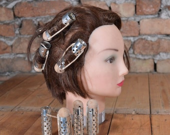 Big Hair Curlers - Hair Rollers - Set of 8 - Wooden Balls - Metal Hair Curlers - Rollers hair - Vintage Hair Accessories - Retro Hairstyle