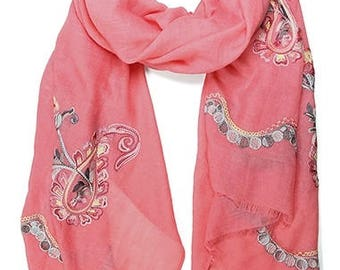 Embroidered Paisley Scarf