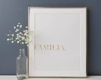 Familia Print, Family Poster, Spanish Poster, Family Poster, Rose Gold Art, Inspirational Quotes