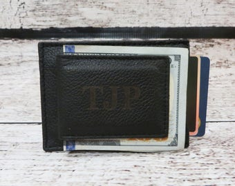 Personalized Leather Money Clip, Card Holder, Engraved, Groomsmen Gift, Gifts for Men, Fathers Day, Corporate Gifts, Groomsman (AX3824)