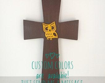 Woodland Wall Cross, Woodland Decorative Cross, Owl Nursery Cross, Woodland Baptism Gift, Owl Nursery, Baby Dedication, Owl Always Love You