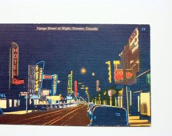 Yonge Street, Toronto Postcard 1965 / Linen Postcard/  Vintage Neon Lights / Early Toronto / Neon Signs Postcard / Night Postcard