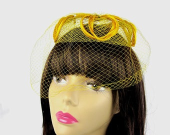 Yellow Pillbox Veil Hat 1960s