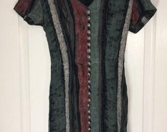 Vintage 90s patterned striped mini dress