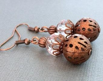 Light Pink Crystals Copper Earrings Pink Copper Earrings Copper Dangle Earrings Rustic Wedding Jewelry Drop Earrings Boho Chic Earrings