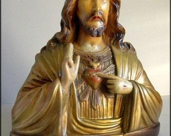 "Vintage Plaster Chalkware Bust JESUS CHRIST ""Sacred Heart"" Statue, Handmade and Hand Painted Religious Art Catholic Church"