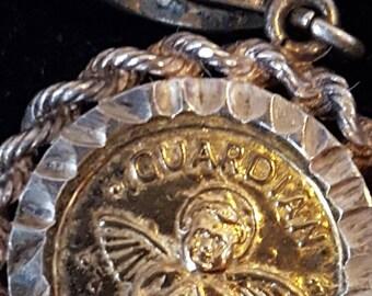 Vintage Badavici Roped Guardian Angel Pendant 925 Silver, Angel Pendant, Badavici Signed Pendant, Silver Pendant, Guardian Angel Charm