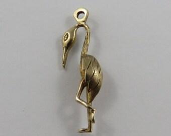 Flamingo 10K Gold Vintage Charm For Bracelet
