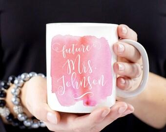 Personalized Future Mrs Watercolor Mug
