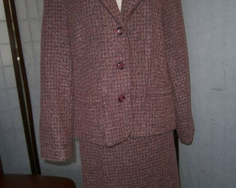 Women's Pink Tweed Suit - Skirt and Jacket