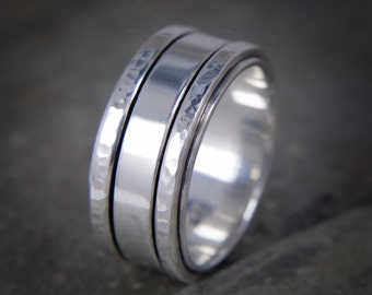 Mens silver ring, wedding band ring, manly ring, heavy silver ring, hammered mens ring, Hallmarked