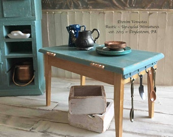 Miniature Rustic Kitchen Table ~ French Country Dining Table ~ 1:12 Scale