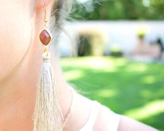 Long Tassel Earrings / Bridal Earrings / Tassel Earrings / Brown stone Earrings / Christmas Gift For Her/ Stocking Stuffers