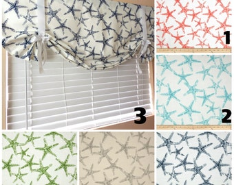 Tie Up Valance Roll Up Shade Nautical Tie Up Valance Kitchen Valance Beach  House Decor Nursery