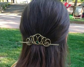 Brass Hair slide  Barrette for Hair, , Metal Ponytail holder, Hammered Slider Barrette, Metal Hair slide, Malachite jewelery