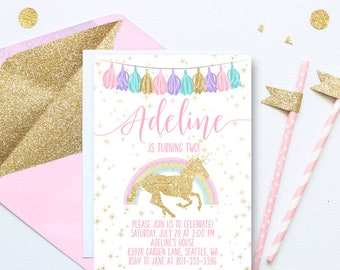 Unicorn Rainbow Birthday Invitation, Gold Glitter Unicorn Birthday Invite, Magical Birthday Invitation