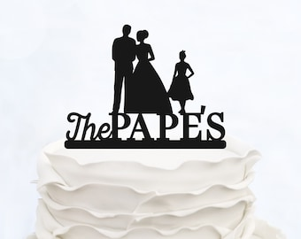 Family Cake Topper_Bride & Groom holding baby boy with little girl_Custom wedding Cake Topper silhouette with last name and children