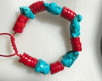 Mandala bracelet, Turquoise Coral bracelet, Tibetan bracelet, Drawstring bracelet