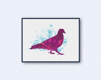 Pigeon Watercolor Poster