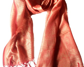Kashmiri silk scarf,Peach Orange Paisley Silk Scarf,Indian Silk wrap,rebozo,100% Silk,Head scarf,soft fabric,Paisley,Accessory for men women