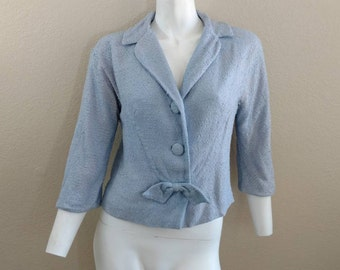 Vintage 60's Blazer Boucle Jacket Cropped Women's Blue Bow Jack Bloom 10 12