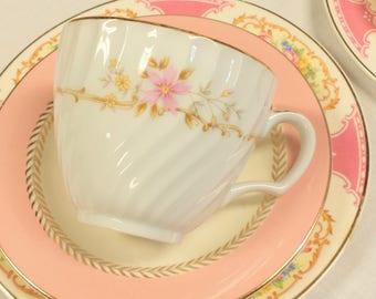 Set of 2 Mismatched Tea Trios ~ Cup/Saucer/Dessert/Salad/Plate ~ Pink, Ivory, Gold