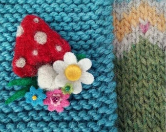 Needle felted toadstool brooch Pixie Hollow