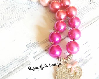 Girly bubblegum necklace, sparkly bubblegum necklace, Princess chunky bead necklace, Girl Silhouette chunky bead necklace, ombre necklace