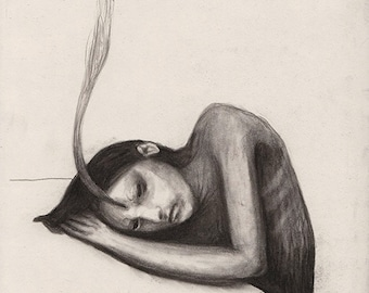 Figurative Charcoal Drawing ' Substance'  - Giclee Print -