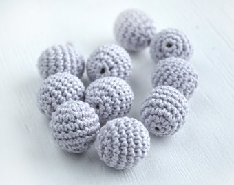 Crocheted Round Beads 5pcs - Light Gray Crochet beads - Crocheted Beads - Beads for teething necklace - Beads for Necklace - 18mm 20mm 23mm