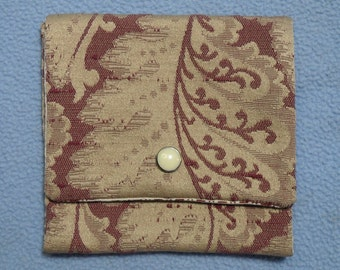 Handmade Purse Pouch, for Jewelry, Make-up, Cards, Coins~Vintage Repurposed Fabrics!! Handsewn
