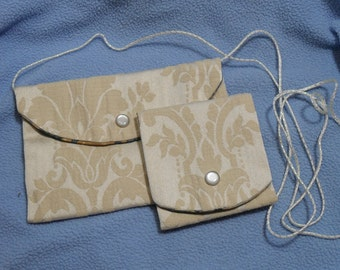 Handsewn Purse w/Strap and Matching Card or Coin Purse~Handmade from Vintage Fabrics!