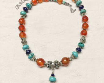 Carnelian, Lapis, Turquoise and .925 Sterling Silver Necklace