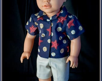 "Perfect Outfit for American Boy Doll or American Girl 18"" Dolls! Short Sleeve Cotton Shirt & Khaki Shorts Outfit for 18 inch Boys or Girls."