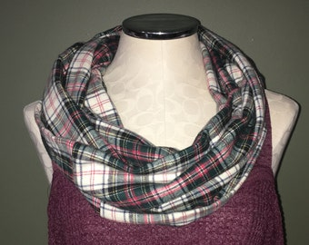Red, Green, White Plaid Flannel Infinity Scarf, gift ideas, infinity scarf, flannel scarf