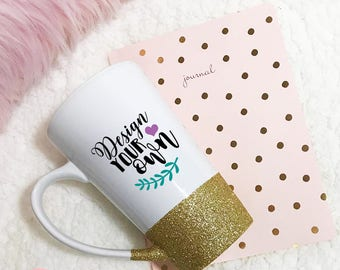 Glitter Dipped Mug- Custom Mug- Personalized Mug- 16 oz Latte Mug- Coffee Mug- Glitter Mug- 16oz Mug- Coffee Cup- Design You Own Mug