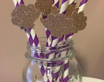 Gold Glitter Seashell Purple Paper Straws