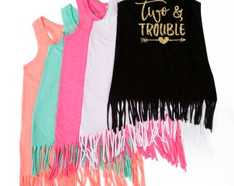 Two and Trouble - 2nd Birthday - Birthday Dress - Birthday Outfit - Fringe Dress - 2nd Birthday - Two year Old - TWO - Toddler Girl